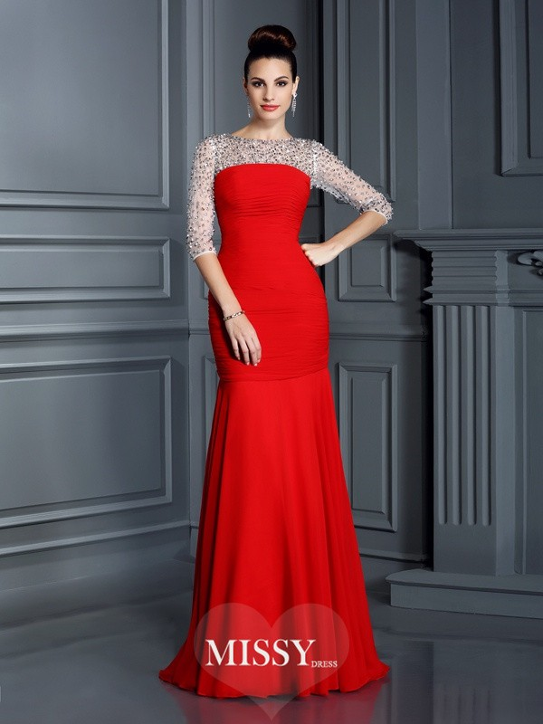 Trumpet/Mermaid Scoop 3/4 Sleeves Beading Floor-Length Chiffon Dresses