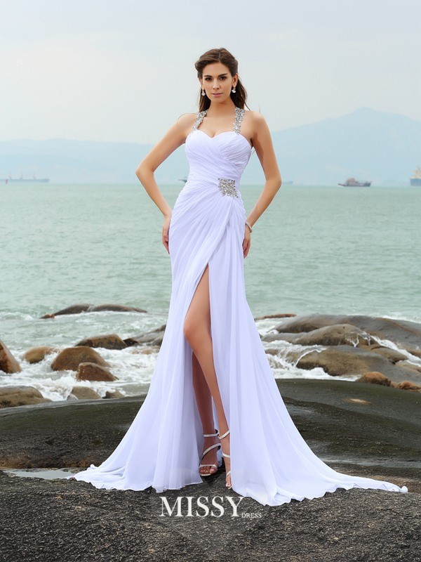Sheath/Column Chiffon Straps Chapel Train Beading Wedding Dresses