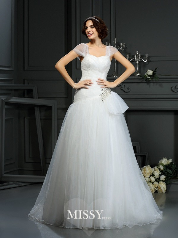 A-Line/Princess Sweetheart Court Train Beading Organza Wedding Dresses