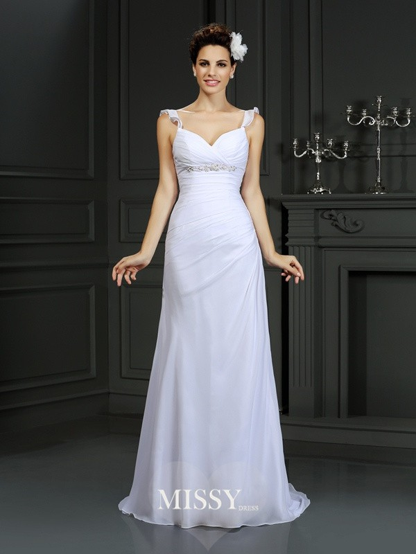 Trumpet/Mermaid Straps Beading Court Train Chiffon Wedding Dresses
