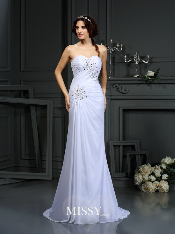 Sheath/Column Sweetheart Beading Chiffon Sweep/Brush Train Wedding Dresses