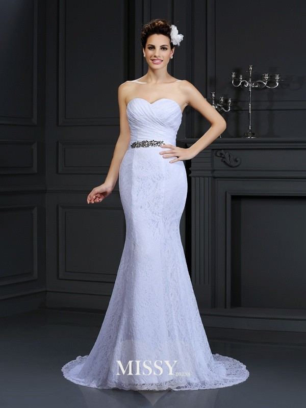 Trumpet/Mermaid Sweetheart Chapel Train Lace Wedding Dresses