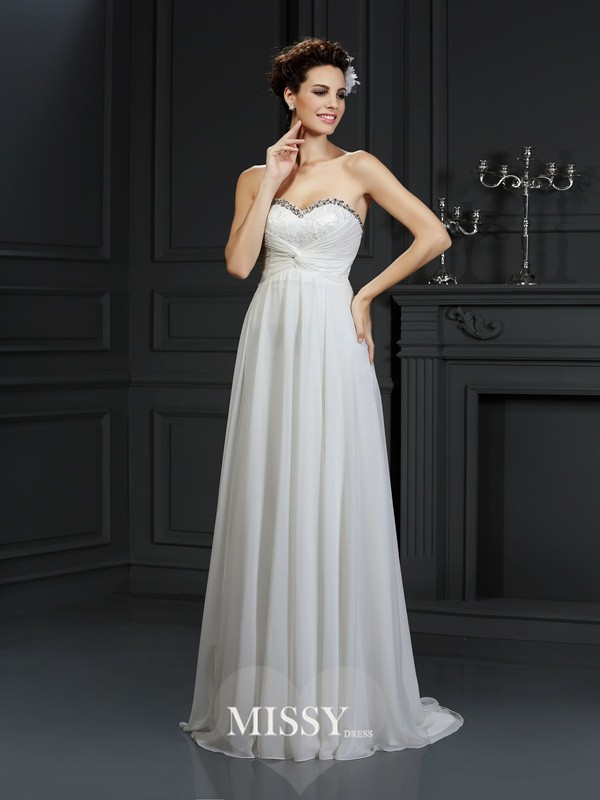 A-Line/Princess Sweetheart Ruffles Chapel Train Chiffon Wedding Dresses