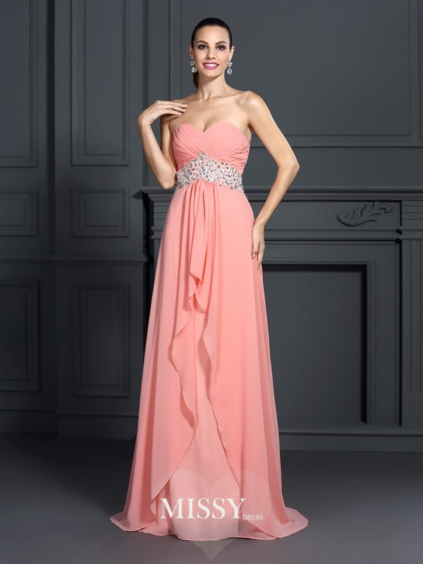 A-Line/Princess Sweetheart Ruffles Floor-Length Chiffon Dresses