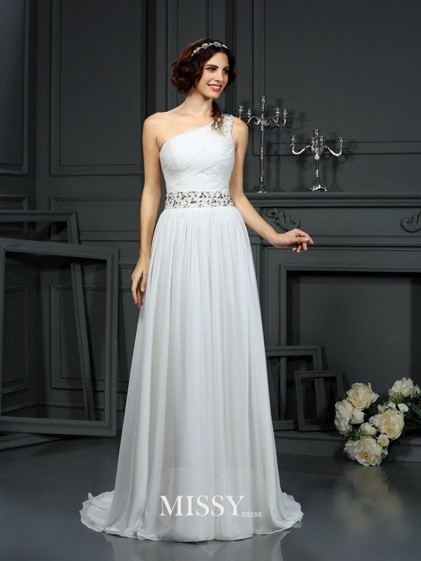 A-Line/Princess One-Shoulder Court Train Beading Chiffon Wedding Dresses