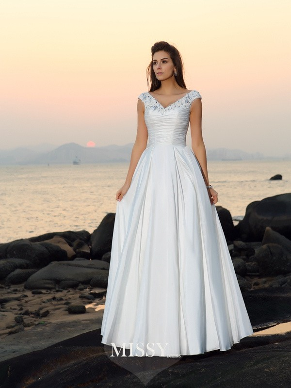 A-Line/Princess V-neck Taffeta Floor-Length Beading Applique Wedding Dresses