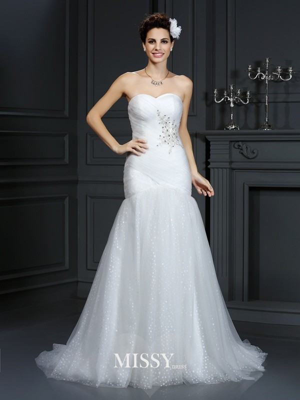 Sheath/Column Sweetheart Court Train Beading Net Wedding Dresses