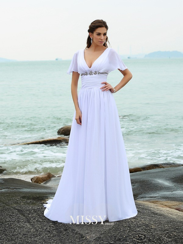 A-Line/Princess V-neck Short Sleeves Sweep/Brush Train Chiffon Ruffles Wedding Dresses