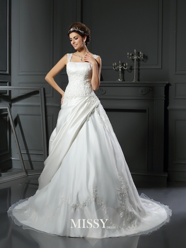 Ball Gown Satin Straps Chapel Train Applique Wedding Dresses