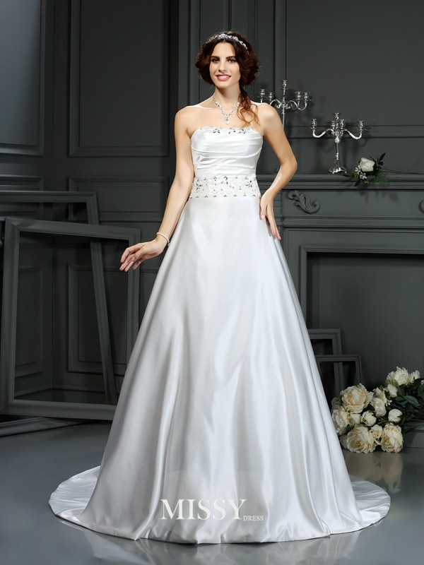 A-Line/Princess Strapless Beading Satin Court Train Wedding Dresses