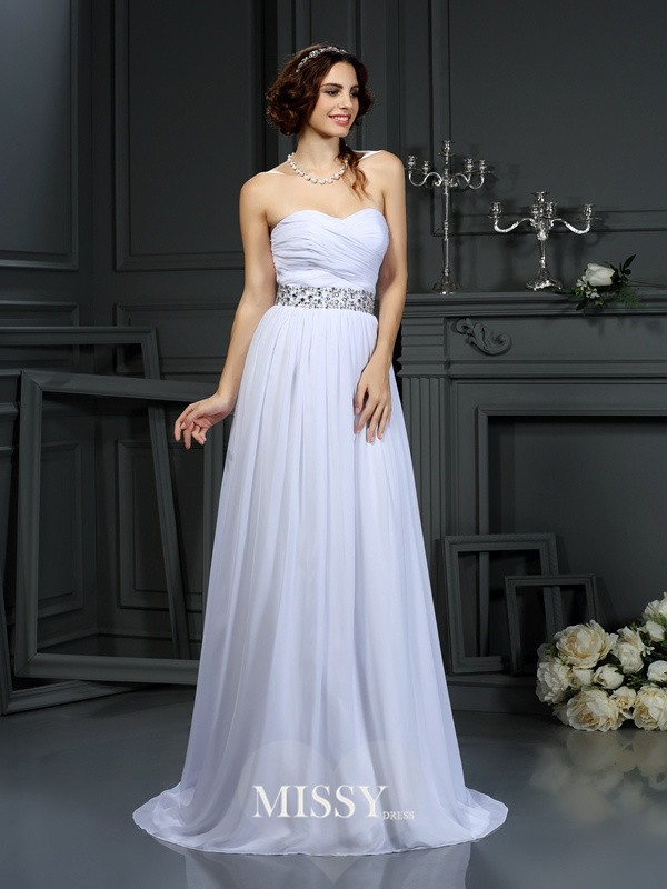 A-Line/Princess Sweetheart Beading Chiffon Court Train Wedding Dresses