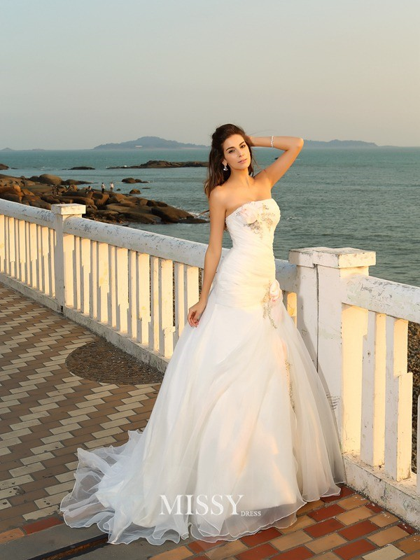Ball Gown Chapel Train Hand-Made Flower Strapless Satin Wedding Dresses
