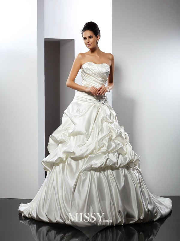 Ball Gown Sweetheart Cathedral Train Satin Wedding Dresses