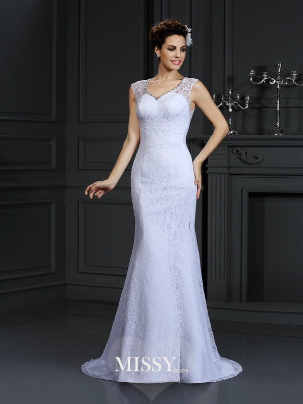 Sheath/Column V-neck Lace Court Train Satin Wedding Dresses