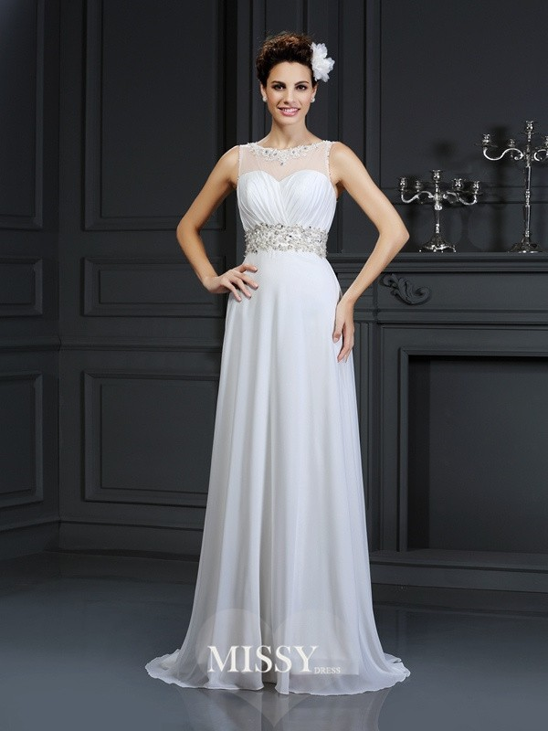 A-Line/Princess Bateau Ruffles Chapel Train Chiffon Wedding Dresses