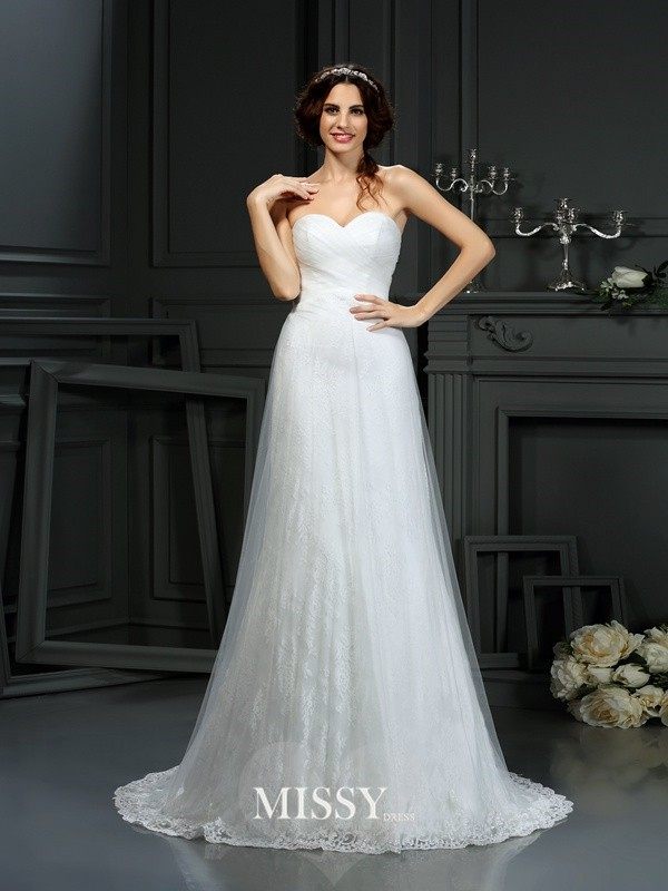 A-Line/Princess Sweetheart Pleats Net Court Train Wedding Dresses