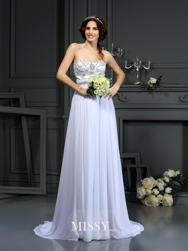 A-Line/Princess Sweetheart Beading Court Train Wedding Dresses