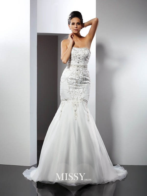 Trumpet/Mermaid Strapless Applique Chapel Train Satin Wedding Dresses