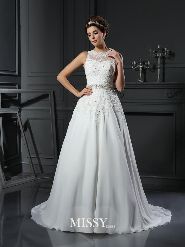 A-Line/Princess High Neck Satin Applique Chapel Train Beading Wedding Dresses