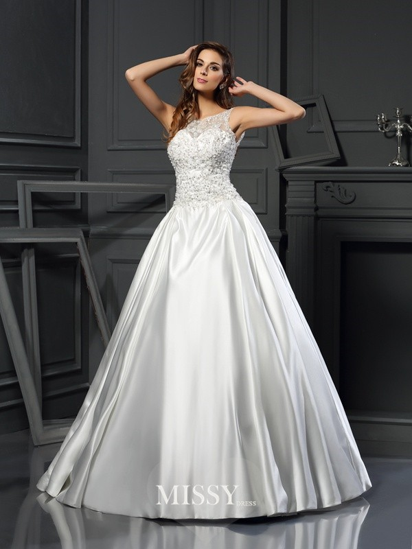 Ball Gown Scoop Satin Applique Chapel Train Wedding Dresses