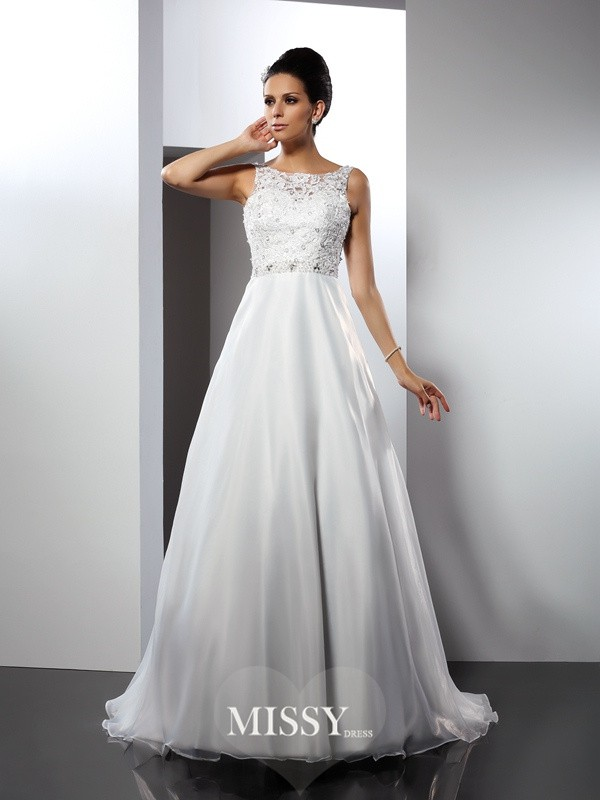 A-Line/Princess Scoop Ruffles Chapel Train Satin Wedding Dresses
