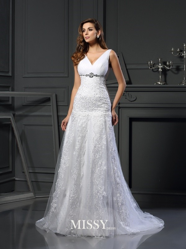 A-Line/Princess V-neck Satin Applique Chapel Train Beading Wedding Dresses