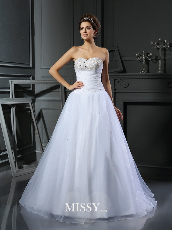Ball Gown Sweetheart Satin Court Train Beading Wedding Dresses