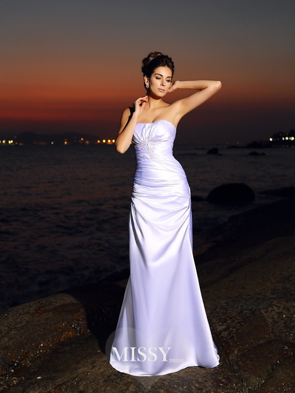 Trumpet/Mermaid Sweetheart Elastic Woven Satin Chapel Train Wedding Dresses