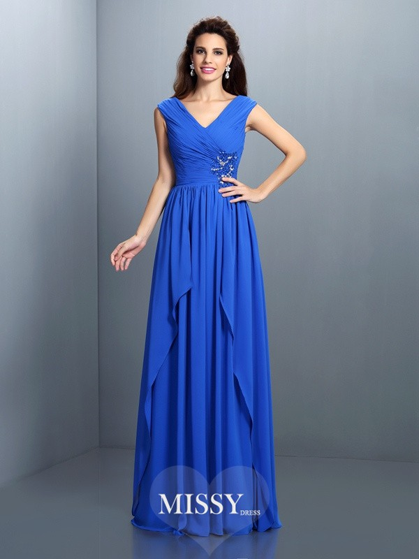 A-Line/Princess V-neck Sleeveless Pleats Beading Floor-Length Chiffon Gowns