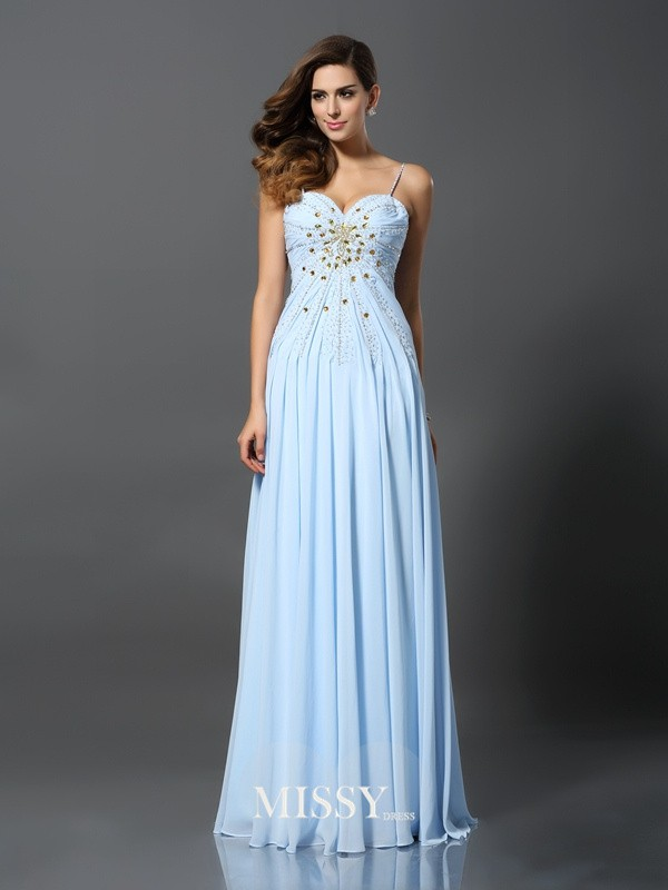 A-Line/Princess Spaghetti Straps Beading Chiffon Sweep/Brush Train Dresses