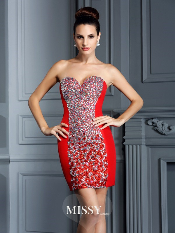 Sheath/Column Sweetheart Sleeveless Embroidery Short/Mini Taffeta Gowns