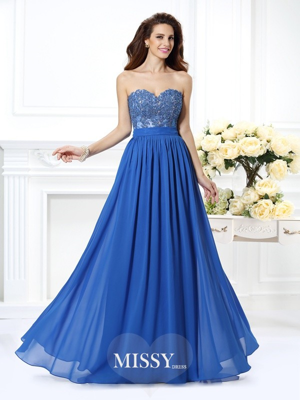 A-Line/Princess Sweetheart Applique Floor-Length Chiffon Dresses