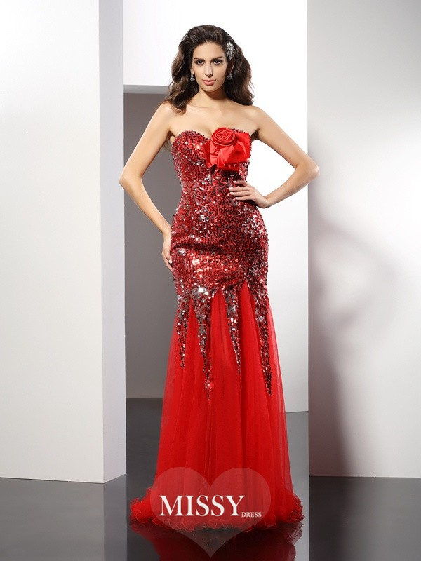 Sheath/Column Sweetheart Sequin Sleeveless Floor-Length Elastic Woven Satin Gowns