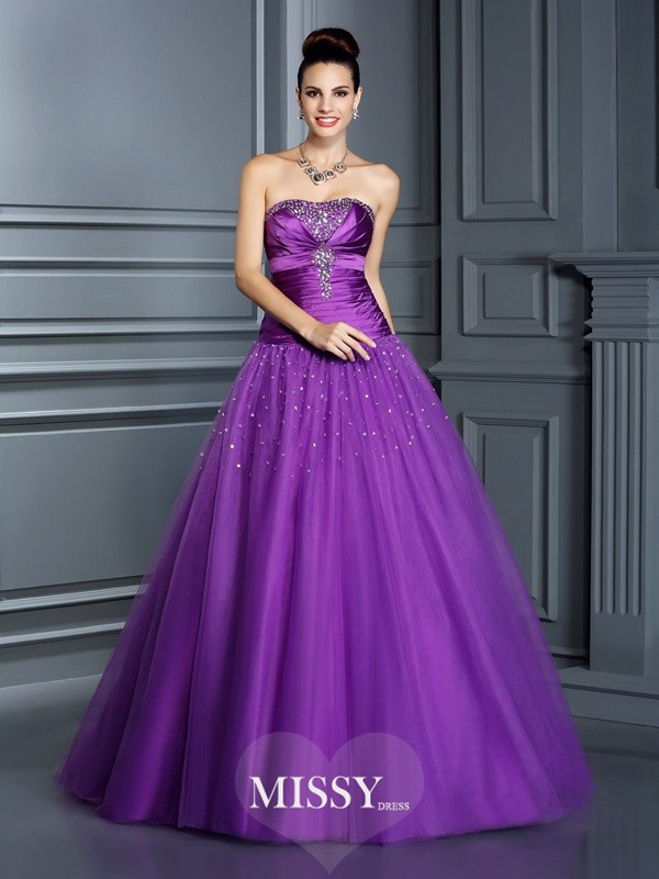 Ball Gown Strapless Floor-Length Taffeta Quinceanera Dresses
