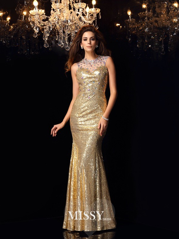 Trumpet/Mermaid High Neck Sequins Floor-Length Dresses