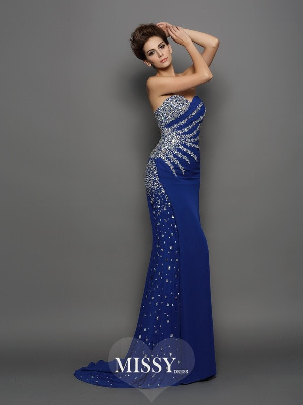 Trumpet/Mermaid Sweetheart Chiffon Sleeveless Rhinestone Court Train Gowns
