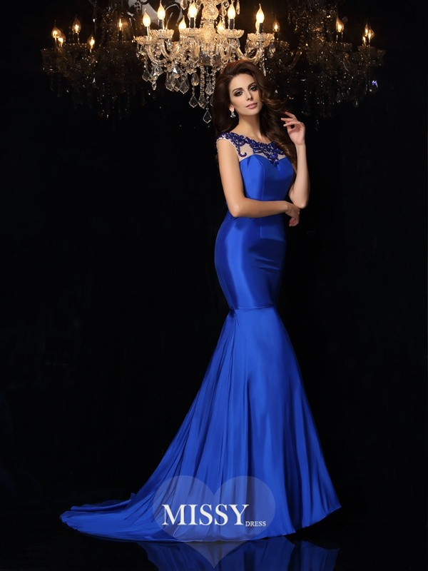 Trumpet/Mermaid Sleeveless Taffeta Bateau Court Train Applique Gowns