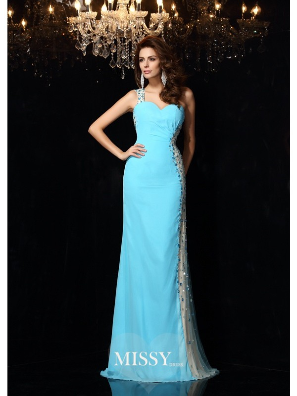 Sheath/Column One-Shoulder Sleeveless Rhinestone Floor-Length Chiffon Dresses