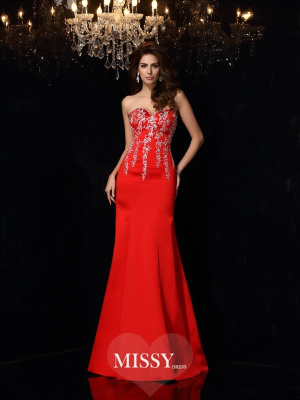 Sheath/Column Sweetheart Sleeveless Applique Floor-Length Satin Dresses
