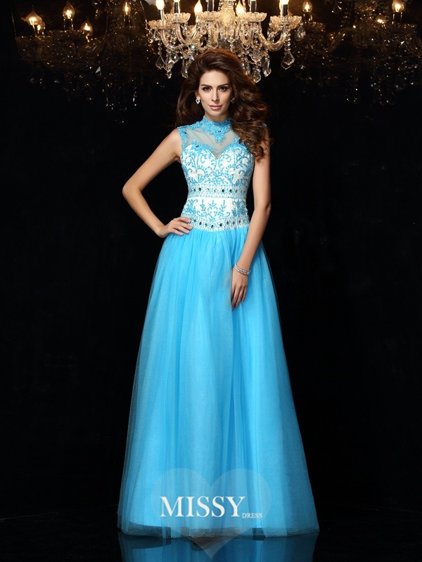A-Line/Princess High Neck Floor-Length Satin Applique Dresses