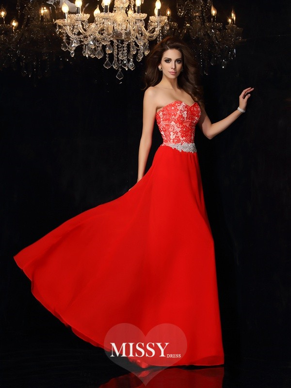 A-Line/Princess Sleeveless Sweetheart Floor-Length Chiffon Lace Dresses
