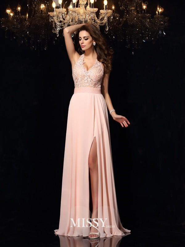 A-Line/Princess Halter Sleeveless Sweep/Brush Train Chiffon Lace Dresses