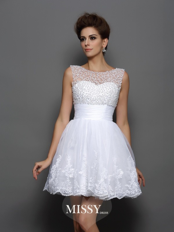 A-Line/Princess Sleeveless Bateau Elastic Woven Satin Short/Mini Pearls Gowns