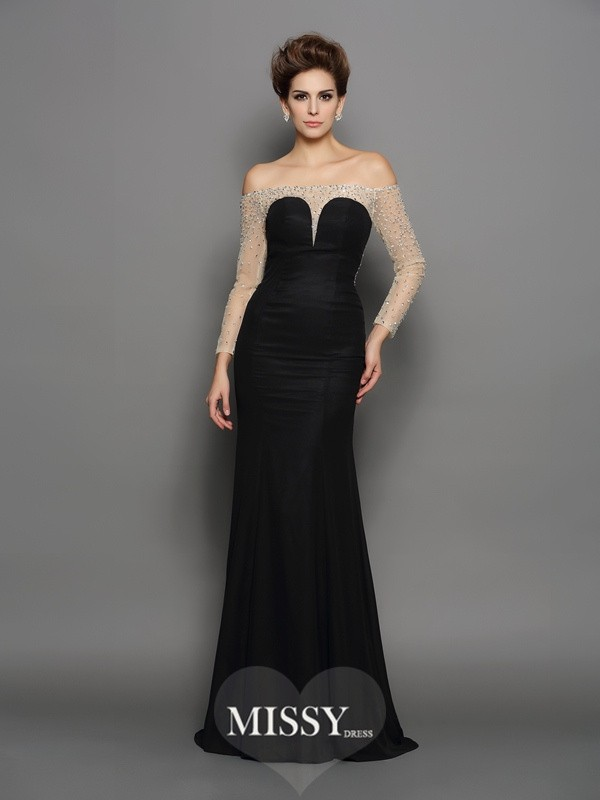 Trumpet/Mermaid Off-the-Shoulder Long Sleeves Beading Sweep/Brush Train Chiffon Dresses