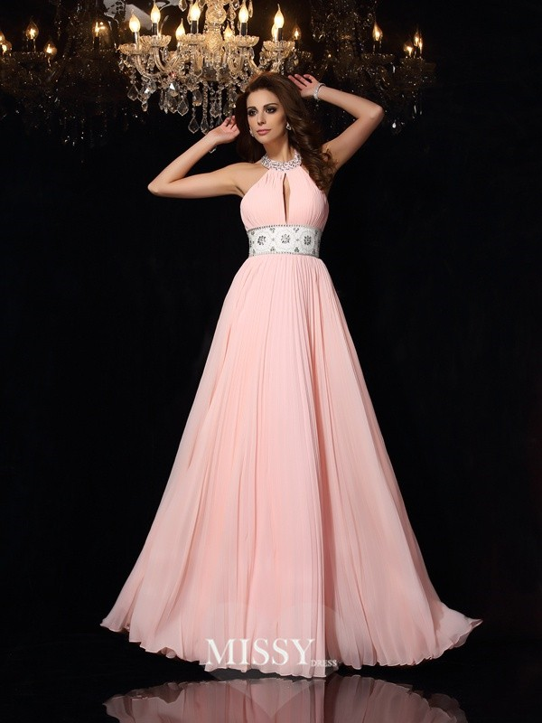 A-Line/Princess Sleeveless High Neck Floor-Length Pleats Chiffon Dresses