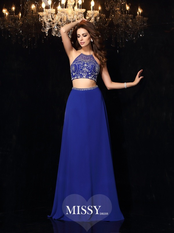 Two Piece A-Line/Princess High Neck Beading Chiffon Sweep/Brush Train Dresses
