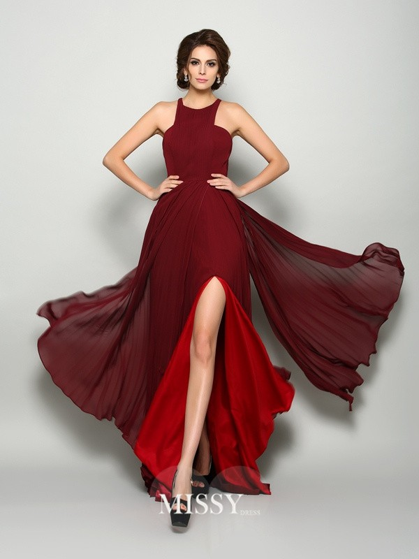 A-Line/Princess High Neck Chiffon Sweep/Brush Train Ruched Dresses