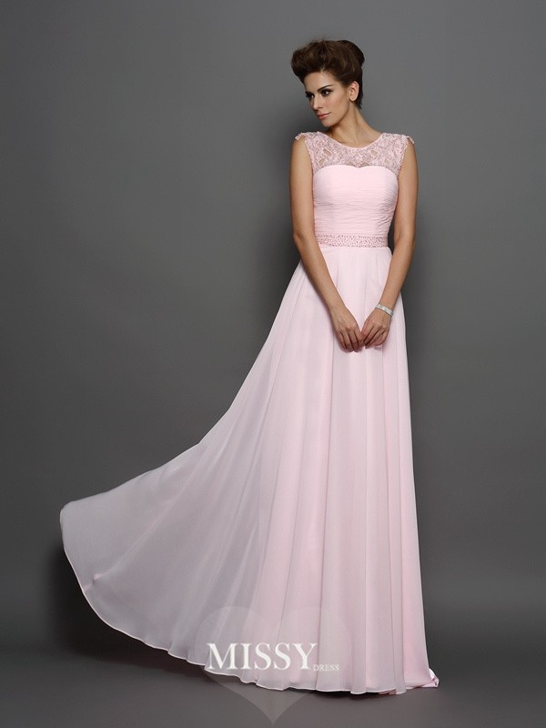 A-Line/Princess Scoop Chiffon Beading Brush Train Dresses