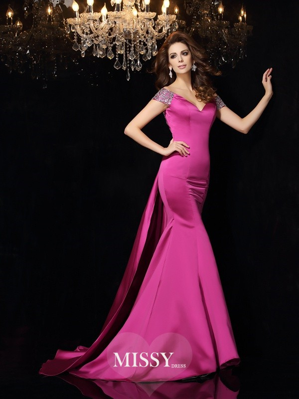 Trumpet/Mermaid Off-the-Shoulder Beading Satin Court Train Dresses