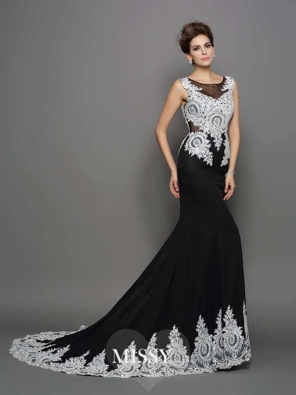Trumpet/Mermaid Scoop Sleeveless Chiffon Lace Chapel Train Gowns